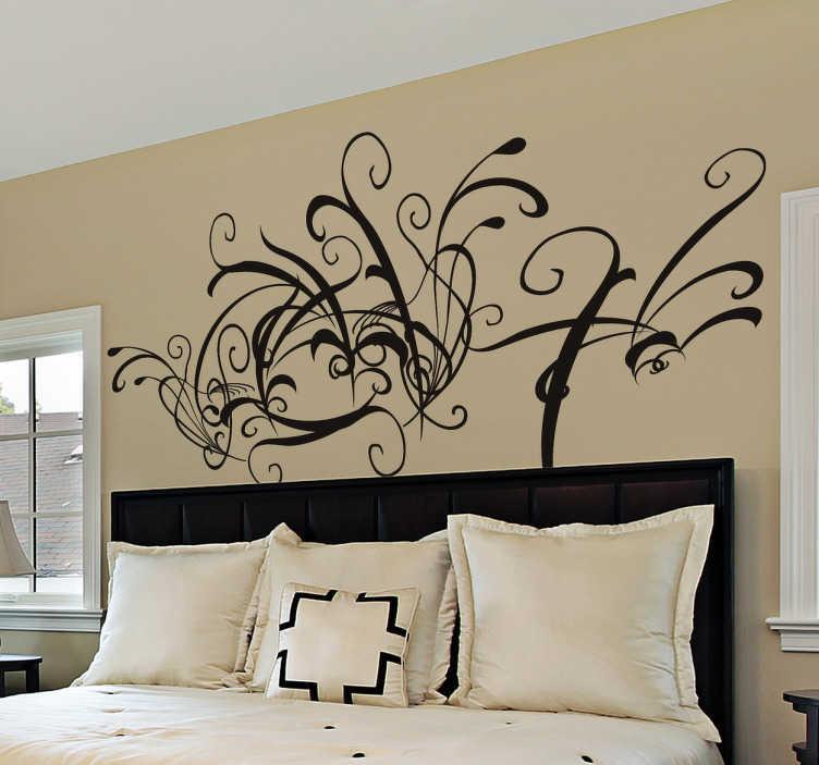 TenStickers. Stencil testiera fantasy astratta. Adesivo murale che raffigura un intricato motivo ornamentale. Ideale per decorare la parete dietro al tuo letto.