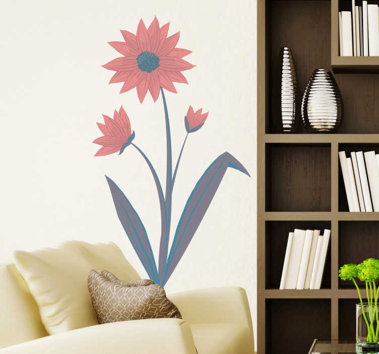 TenVinilo. Vinilo decorativo flor rosada. Elegante recurso vegetal en adhesivo con el que decorar los muros de tu casa.
