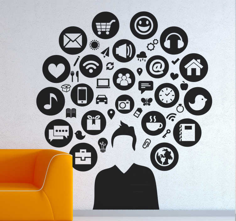 TenStickers. Media Man Decal. Social Media - Silhouette design of a young male adult surrounded by various icons. Distinctive feature great for the home or business.