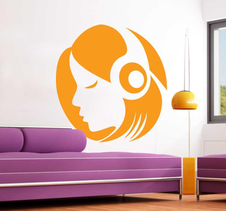 TenVinilo. Vinilo decorativo icono escuchar. Para los amantes de la música este adhesivo iconográfico de una joven con auriculares.