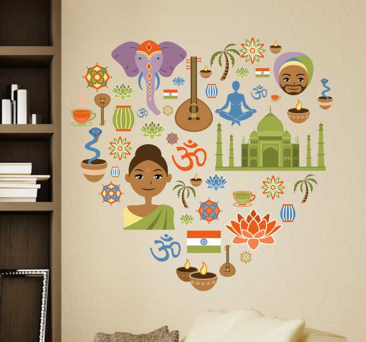 TenStickers. Naklejka love India. Naklejka dekoracyjna przedstawia wiele ikon, rysunków związanych z indyjskim światem i kulturą, które tworzą kształt serca.