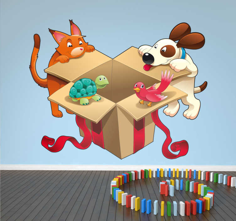 TenStickers. Pet Gift Wall Sticker. Animals - Fun and playful illustration of a cat, dog, turtle and bird opening a gift box.