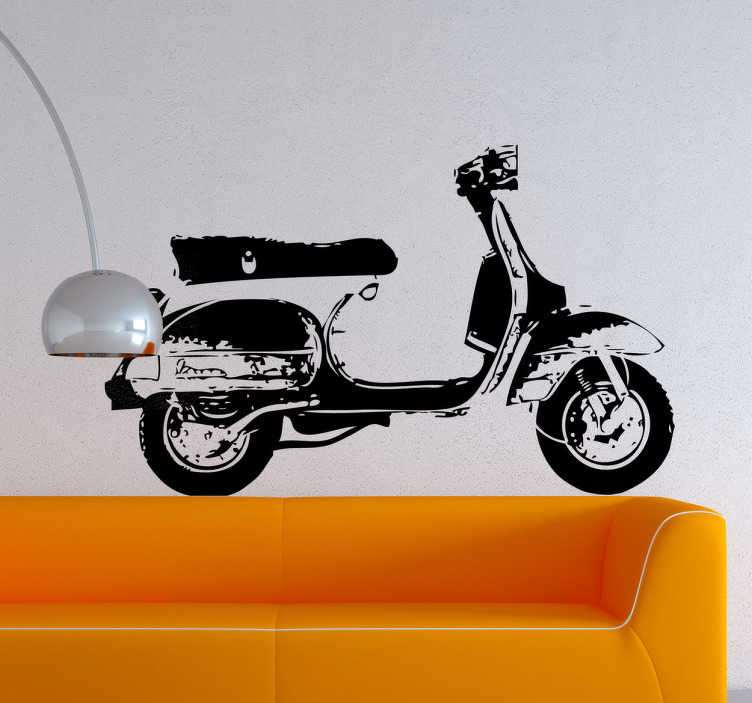 TenStickers. Vespa Profile Sticker. Monochromatic sticker of this iconic motorcycle created by artist Pierino Gallucci.