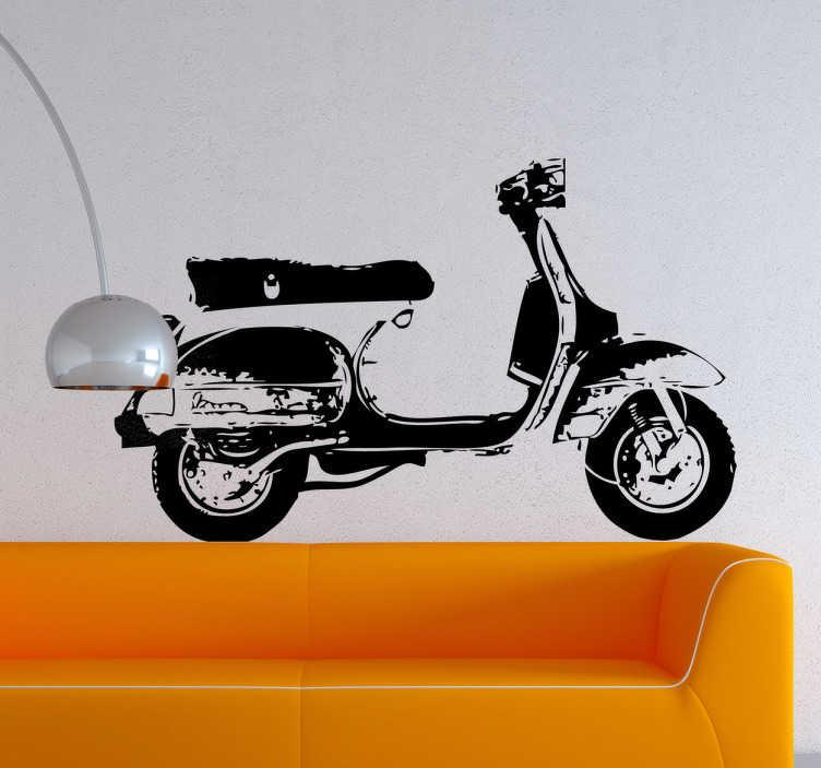 TenStickers. Naklejka retro skuter. Stylowy i oldschoolowy monochromatyczny skuter może znależć się w dowolnym kolorze na Twojej ścianie!