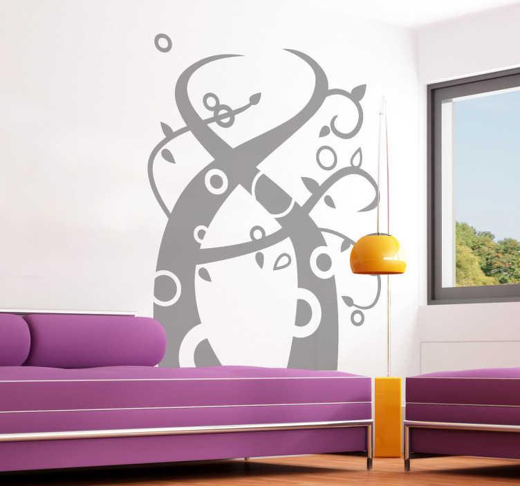 TenStickers. Wandtattoo abstraktes Pflanzen Ornament. Personalisieren Sie Ihr Zuhause mit diesem abstrakt gestalteten Wandtattoo von rankenden Pflanzen mit Kreisen.
