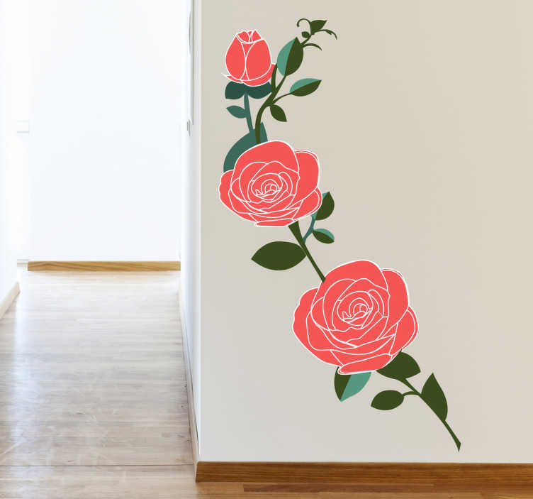 TenStickers. Roze rozen bloemen sticker. Muursticker van prachtige roze rozen, maak jouw woning of bedrijf eleganter en geef het meer kleur met deze mooie bloemen sticker!