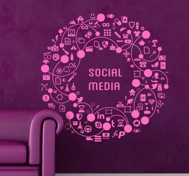 """TenStickers. Sosyal medya çelenk çıkartması. Sosyal medya - """"sosyal medya"""" kelimelerinin tipografik illüstrasyon simgeler ve işaretler gibi çeşitli unsurlarla çevrili."""