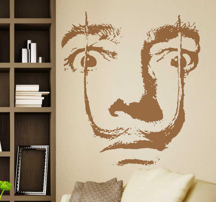 TenVinilo. Vinilo decorativo retrato Salvador Dalí. Espectacular representación del genio catalán en adhesivo monocolor realizada por Pierino Gallucci.