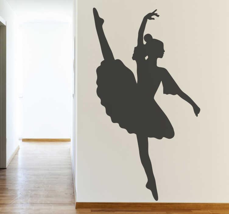 TenStickers. Naklejka popisowy taniec. aklejka dekoracyjna przedstawiająca tancerkę w okazałej suknii podczas wykonywania jednej z póz tanecznych. Naklejka dedykowana wszytskim fanom baletu i nie tylko.