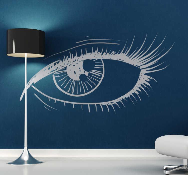 TenStickers. Sticker decorativo illustrazione occhio. Adesivo murale che raffigura un sensualissimo occhio femminile. Una decorazione originale per le pareti del soggiorno.