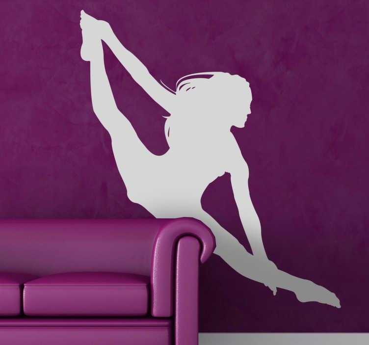 TenStickers. 실루엣 acrobat 벽 스티커. 올림픽 벽 스티커 - 댄서 또는 공기를 통해 도약을 복용 선수의 실루엣. 놀라운 운동 선수의 실루엣은 다양한 크기와 색상으로 나옵니다.