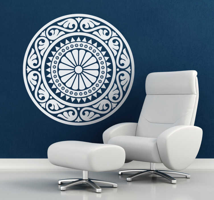 TenStickers. Classic Rosette Mandala Wall Sticker. Mandala Decals - A classic mandala wall art sticker. Decorate your home and create a relaxing and mystical feel about the place.
