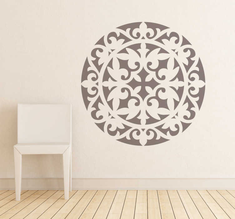 TenStickers. Christian Round Rosette Wall Sticker. Decals - Classic symmetric illustration. Abstract floral motif. Decorate your home with a touch of colour and give a mystical feel.