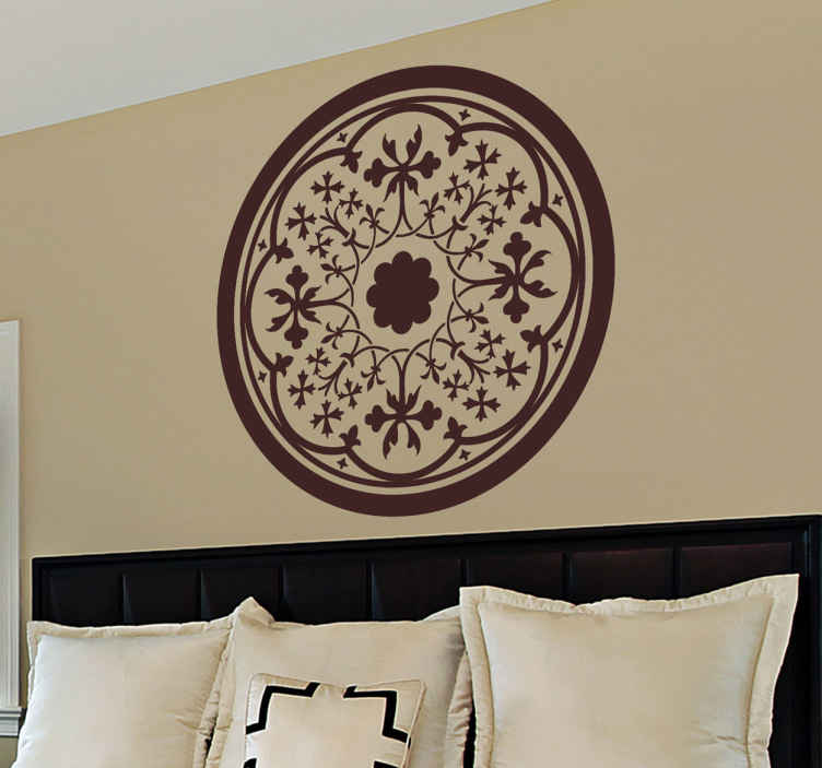 TenStickers. Naklejka gotycka rozeta. Symetryczny wzór przedstawiający gotycką rozetę w formie naklejki naściennej. Piekny wzór rozety, ornamentu architektonicznego w kształcie rozwiniętej róży.