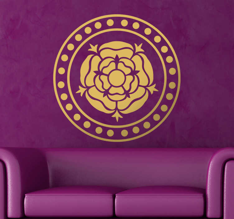 TenStickers. Naklejka róża w rozecie. Naklejka dekoracyjna przedstawiająca różę umieszczoną w rozecie. Symetryczny wzór dostępny w 50 kolorach i różnych rozmiarach.