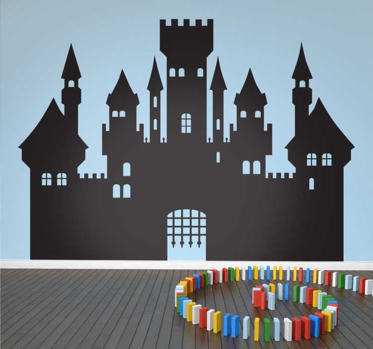 TenStickers. Medieval silhouette autocolant perete de perete. Copii autocolante de perete - ilustrare silueta a unui castel medieval. Autocolantul de perete medieval va transforma dormitorul copilului într-un câmp de luptă medieval.