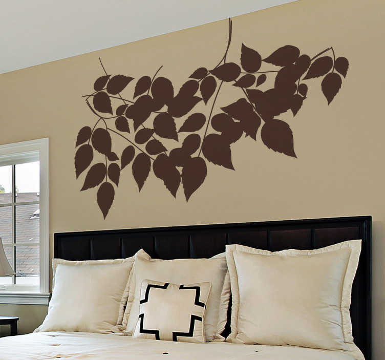 TenStickers. Natur Wandtattoo Blätter. Gestalten Sie das Kopfende Ihres Bettes mit diesem schönen Wandtattoo von Blättern, die an zarten Ästen hängen.