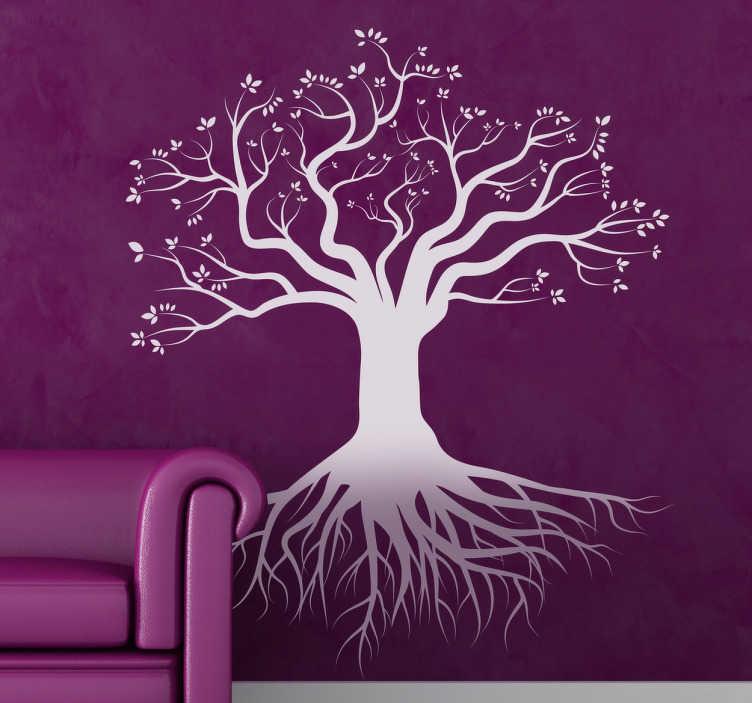 TENSTICKERS. 深い根の木の壁のステッカー. ツリーデカール - 強い根を持つ秋の木のイラスト。どの部屋のクリエイティブツリーの装飾。さまざまなサイズと色が用意されています。