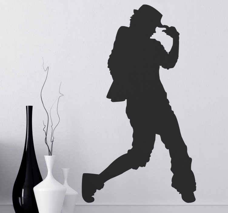 TenStickers. Urban Dancer Silhouette Sticker. Silhouette sticker of a dancer that could be recreating the famous Michael Jackson dance moves. This sticker is available in 45 different colours.