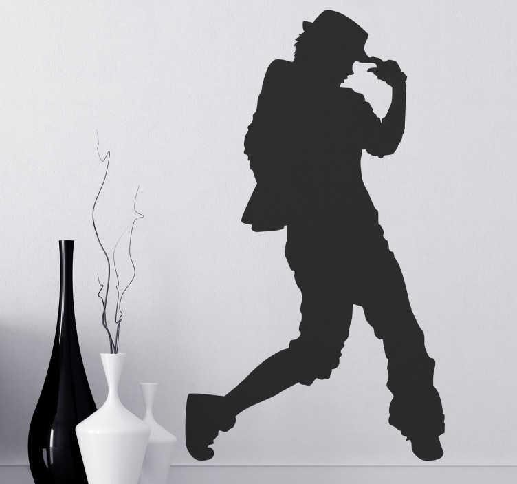 TenStickers. Sticker jongen urban dance. Muursticker met hierop de silhouet van een jongeman met een hoedje dat street dance beoefend. Leuke wanddecoratie voor de liefhebbers van dans.