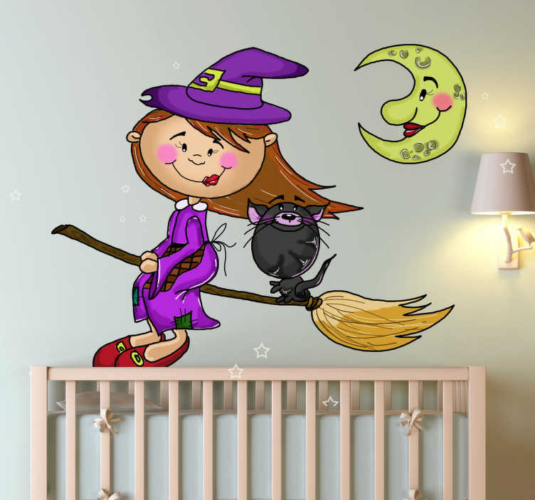 TenStickers. Little Witch, Cat and Moon Kids Stickers. Personalise the kids rooms with this fantastic wall sticker of a little witch on a broom with her cat shows flying under the moon at night.