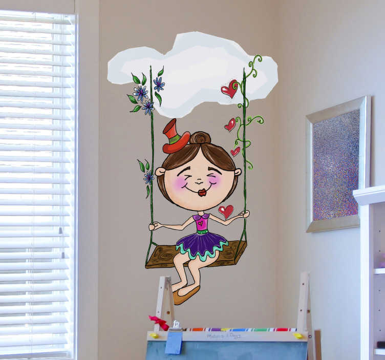 TenStickers. Naklejka magiczna huśtawka. Fantastyczna naklejka na ścianę przedstawiająca pogodną dziewczynkę siedzącą na huśtawce wykonanej z magicznych roślin. Obrazek został stworzony przez Apatino Art.