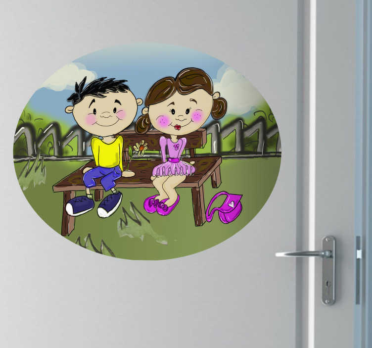 Sticker enfant banc