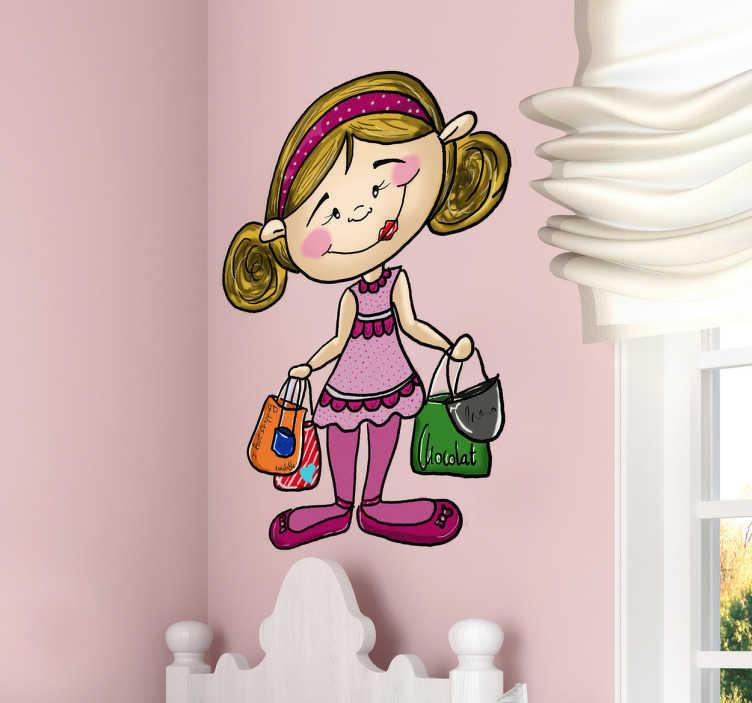 TenStickers. Sticker enfant shopping. Décorez la chambre de votre enfant avec cette petite fille sur sticker après son après-midi shopping. Une illustration originale de Apatino Art.