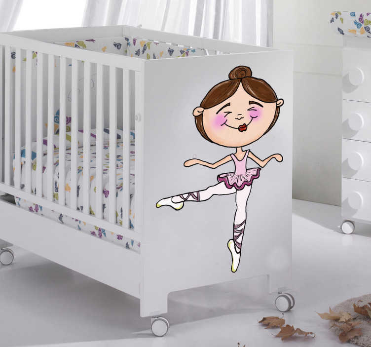 TenStickers. Ballerina Girl Sticker. A charming drawing by Apatino Art of a little girl practising her ballet dance moves.