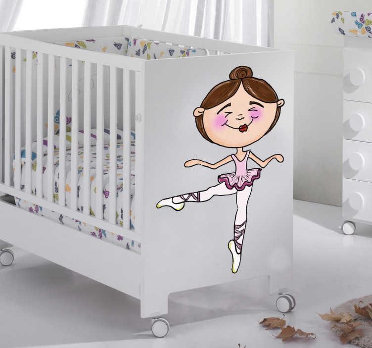 TenStickers. Dans ballerina sticker. Decoreer de babykamer met deze leuke dans sticker! Je ziet een meisje in een dans outfit, gekleed als ballerina!