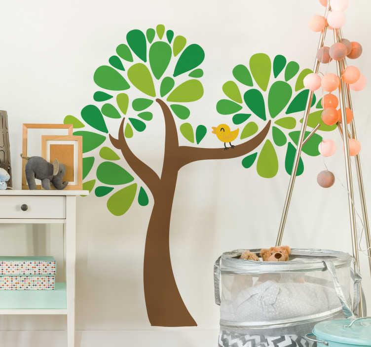 TenStickers. Naklejka dziecięca drzewo i ptak. Naklejka dekoracyjna przedstawiająca drzewo z zielonymi liśćmi i malego żółtego ptaka, który siedzi na gałęzi.