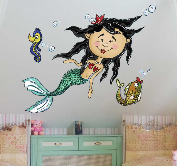 TenStickers. Under the Sea Mermaid Wall Sticker. A design illustrating a young mermaid under the sea! Brilliant mermaid decal from our collection of mermaid wall stickers for children.