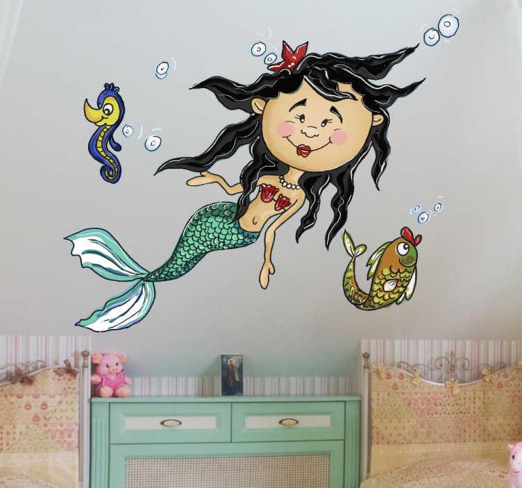 Naklejka dziecięca syrena na dnie morza