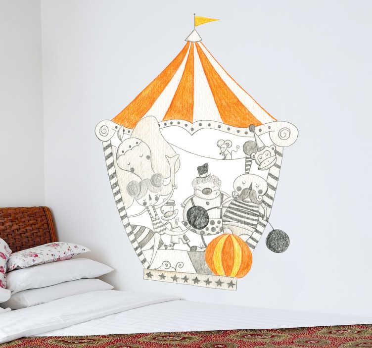 TenVinilo. Vinilo decorativo circo del pueblo. Espectacular ilustración de una carpa circense en tonos grises y naranjas realizada a lápiz por Bonita del Norte.