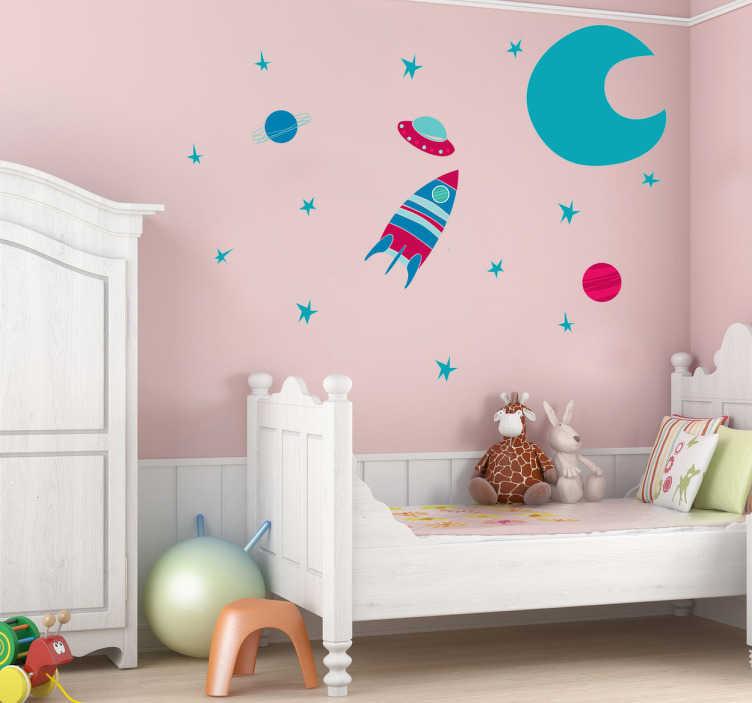 Sticker ruimte raket maan planeten tenstickers - Kamer wanddecoratie kind ...