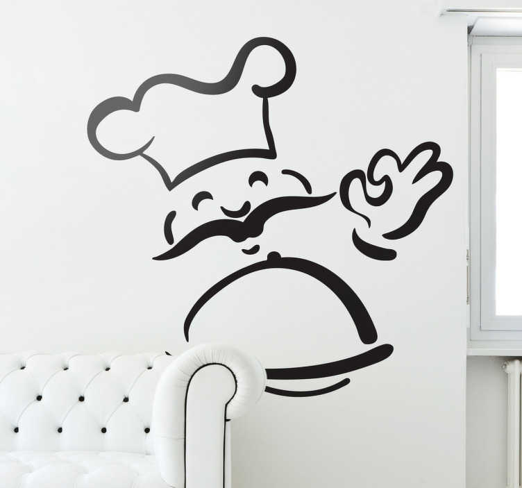 TenStickers. Smiling Chef Wall Sticker. Kitchen Stickers - This simple yet effective monochrome wall sticker is perfect for filling that empty space in the kitchen and brightening up any home.