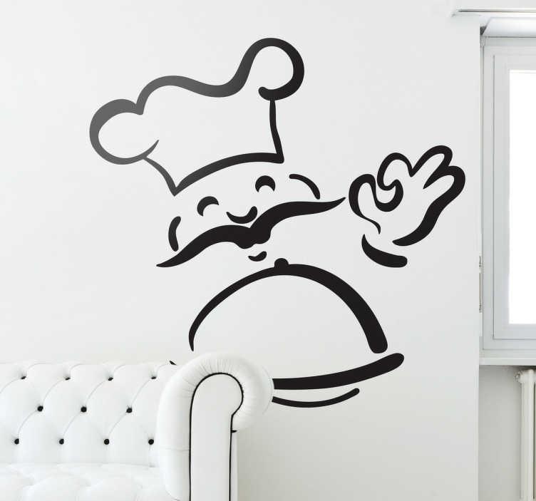 TenStickers. Adesivo decorativo de chef sorridente. Adesivo decorativoilustrando umchefsorridente que transporta uma deliciosarefeição Siga a sugestão dochefe decore a suacozinha!