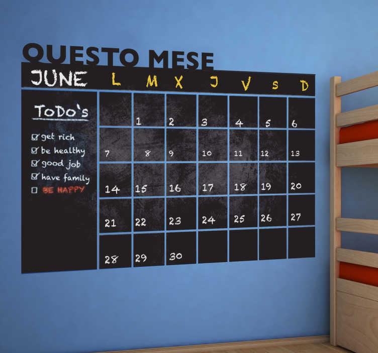 TenStickers. Adesivo murale lavagna mese. Sticker che ti farà da agenda e calendario. Usalo per annotarci tutto ciò che vuoi: la lista della spesa, i tuoi impegni, i tuoi promemoria...