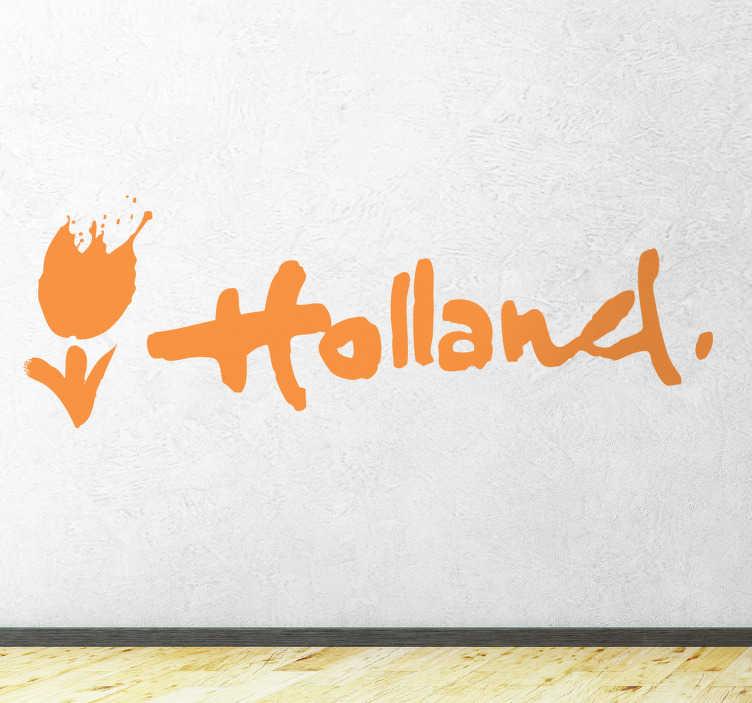 TenStickers. Stencil muro Holland. Adesivo murale monocolore raffigurante il logo del nome Olanda accompagnato dal caratteristico fiore che rappresenta questo paese, il tulipano. Una sobria ma graziosa scritta parietale per ricordarti dei tuoi indimenticabili viaggi nel paese che ami tanto e che continua a vivere nei tuoi ricordi di curioso viaggiatore.