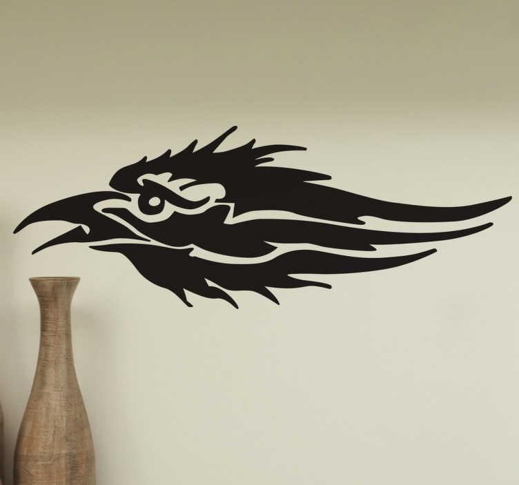TenStickers. Stencil muro icona corvo. Versione stilizzata di un disegno rappresentante questo volatile in uno sticker murale monocoloreper la decorazione di varie superfici della casa.