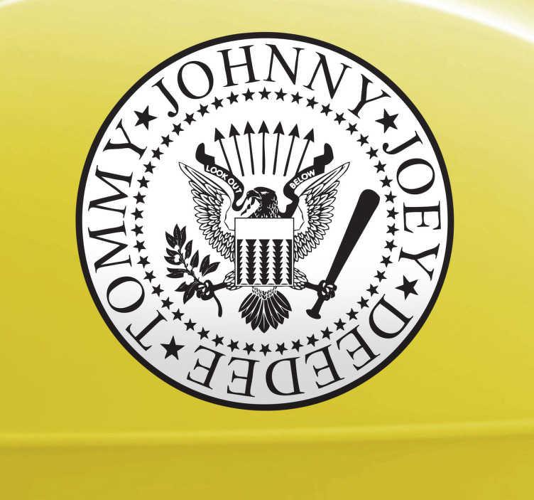TenVinilo. Adhesivo decorativo Ramones. Logotipo característico en pegatina pared de este rompedor grupo musical americano liderado por Joey Ramone.