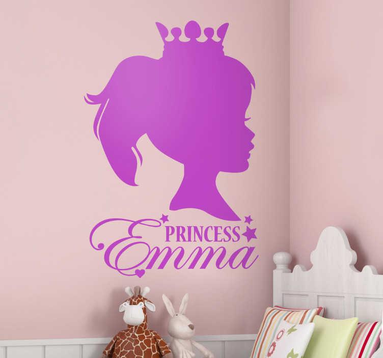 TENSTICKERS. パーソナライズされた王女の肖像画の子供のステッカー. カスタマイズ可能な子供の壁のステッカー - あなたの子供の名前は下にエレガントな筆記体のフォントで書かれた王女の顔の側面を示すパーソナライズされたシルエットの壁のステッカー。女の子の寝室を飾るのに最適です。