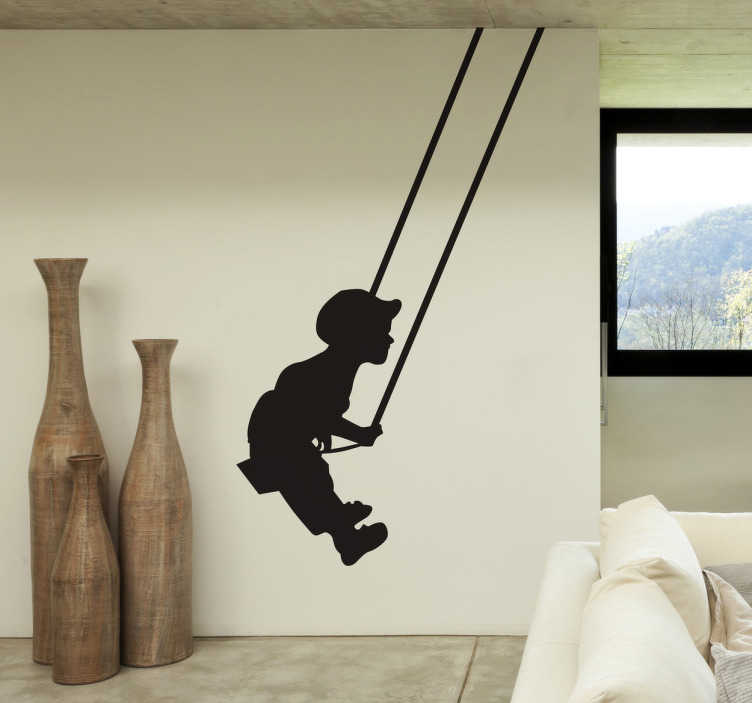 TenStickers. Boy On Swing Decal. Silhouette Wall Stickers - An great illustrative sticker of a young boy on a swing. The swing decal is unique and will give your home an original look. Make it a personalised sticker and choose the colour and size you want.