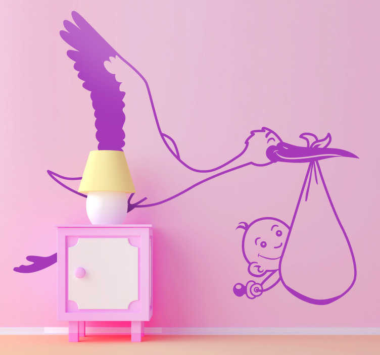 TenStickers. Kids Baby Stork Carrier Wall Sticker. Kids Wall Stickers - Illustration of a stork bird carrying a small adorable baby.