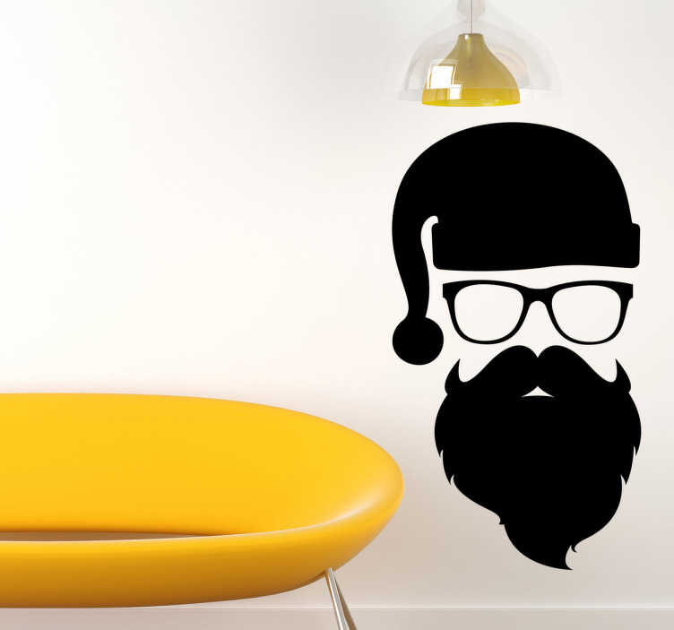 Adesivo silhouette Babbo Natale Hipster