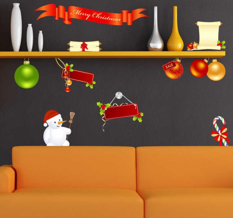 """TenStickers. Weihnachtszeit Sticker Set. Weihnachts Sticker Set mit weihnachtlichen Motiven - Vom Weihnachtskugel, einem Schneemann und der Aufschrift """"Merry Christmas"""" ist alles dabei."""