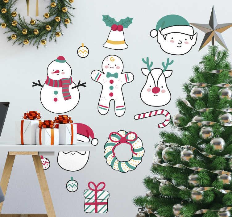 TenStickers. Autocolante decorativo figuras natalícias. Autocolante decorativo que ilustra um conjunto de divertidas figuras natalícias, como o Pai Natal, bonecos de neve ou renas!