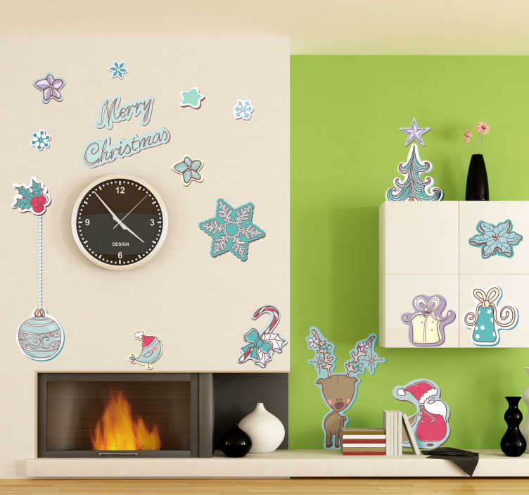 TenStickers. Merry Christmas Festive Sticker. Decorative sticker with a collection of festive objects to customize your home during the Christmas season.