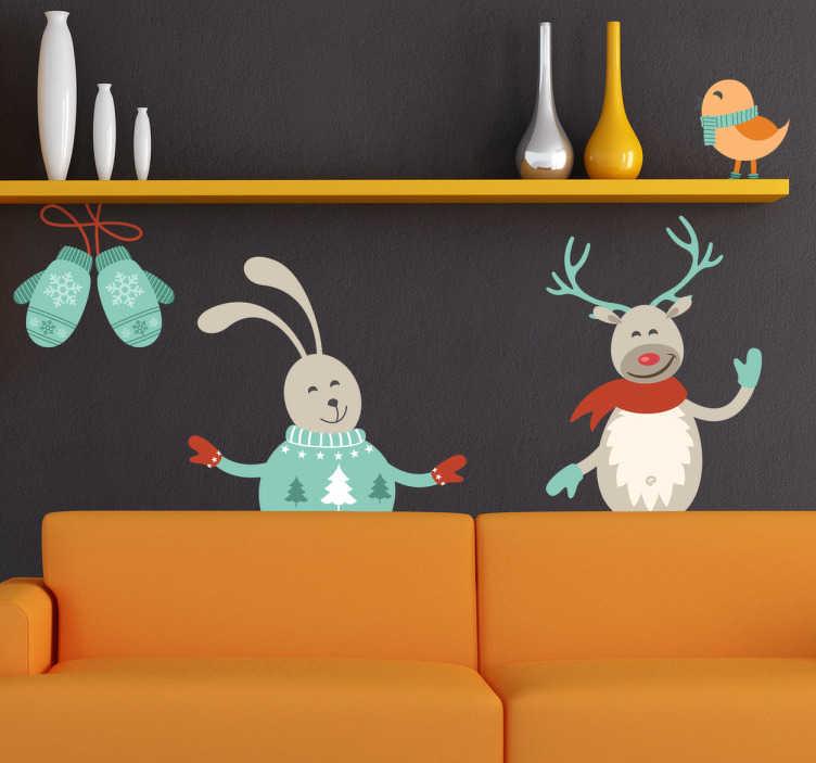 TenStickers. Sticker rennes Noël. Un sticker original pour personnaliser votre décoration à l'occasion des fêtes de Noël. Un adorable couple de rennes pour votre intérieur.
