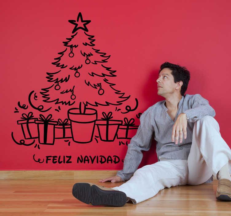 TenVinilo. Vinilo decoración árbol navidad. Vinilo decorativo del clásico árbol navideño para decorar las paredes y los muebles de tu hogar con el espíritu navideño que a todos nos gusta.